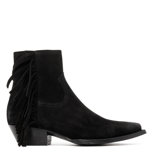 Lukas black suede fringes booties