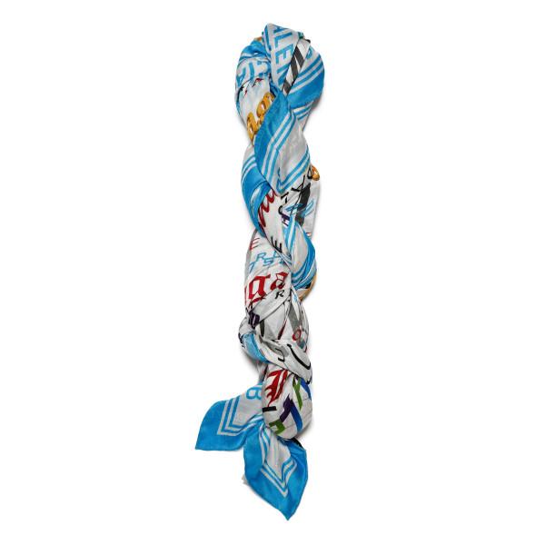 Multicolor silk logo scarf