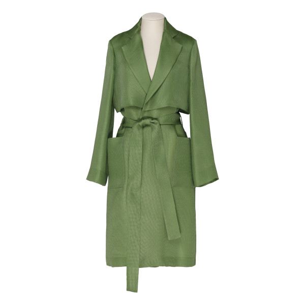 Green silk fluid trench coat