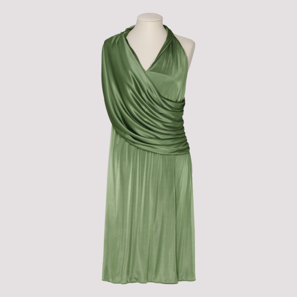 Green draped V-neck dress