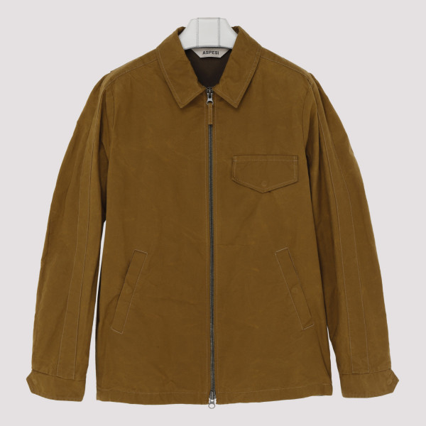Tobacco cotton zipped jacket