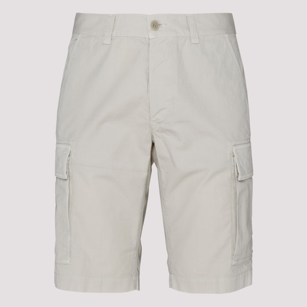 Beige Cotton Cargo Shorts