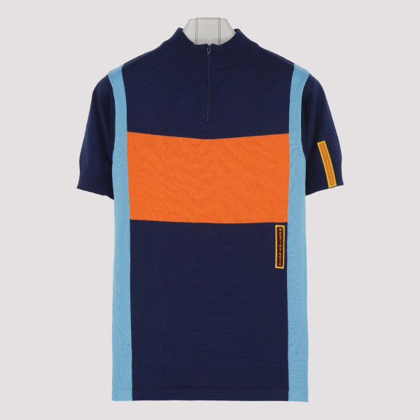 Multicolor knitted cycling top