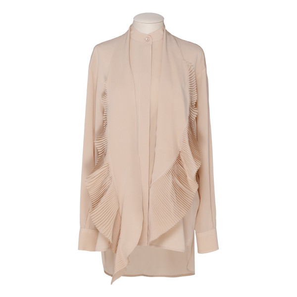 Pink silk pleated scarf shirt