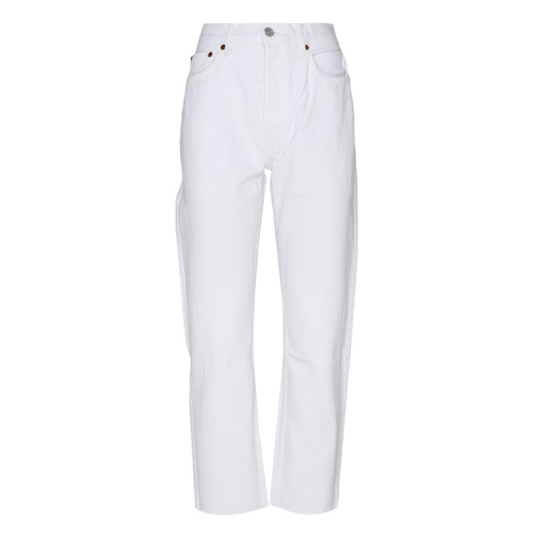 White High Rise Stove Pipe Jeans