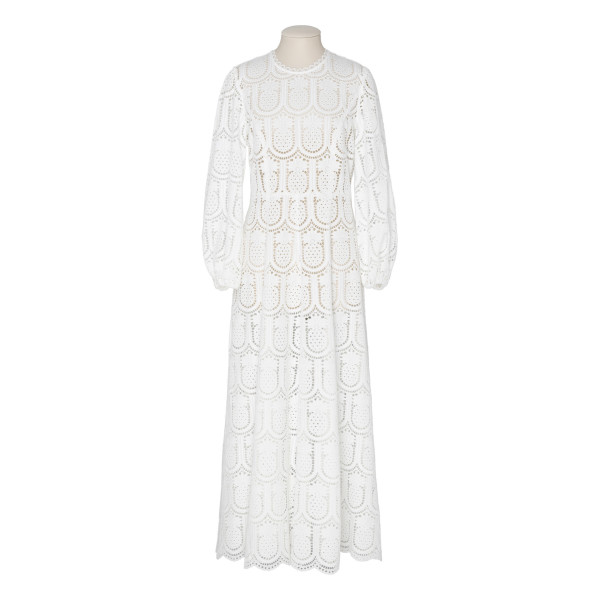 White Wayfarer crochet-lace maxi dress