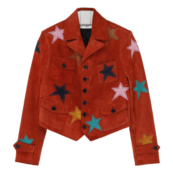 Red suede jacket with leather stars