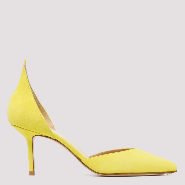 Yellow pointed heel d'Orsay...