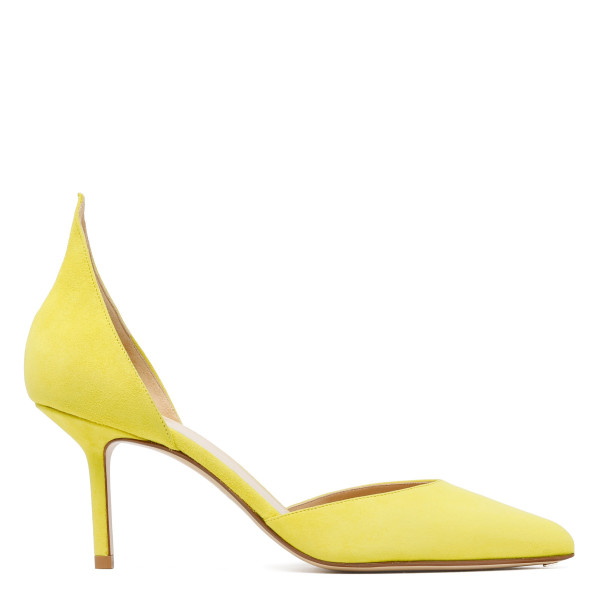 Yellow pointed heel d'Orsay pumps