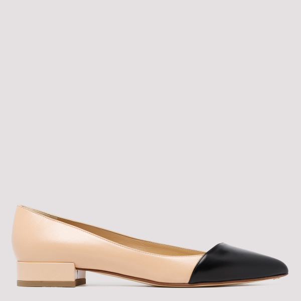 Point-toe black and nude flats