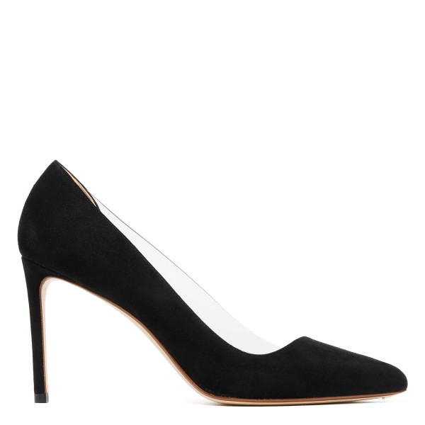 Black Point-toe suede and PVC pumps