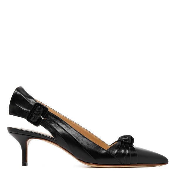 Black Knotted leather kitten-heel pumps