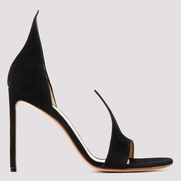 Black open-toe suede pumps