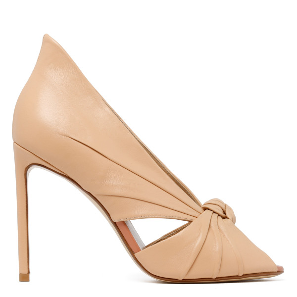 Nude Knotted leather peep-toe pumps