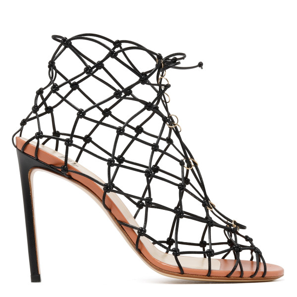 Black Fishnet Stiletto Sandals