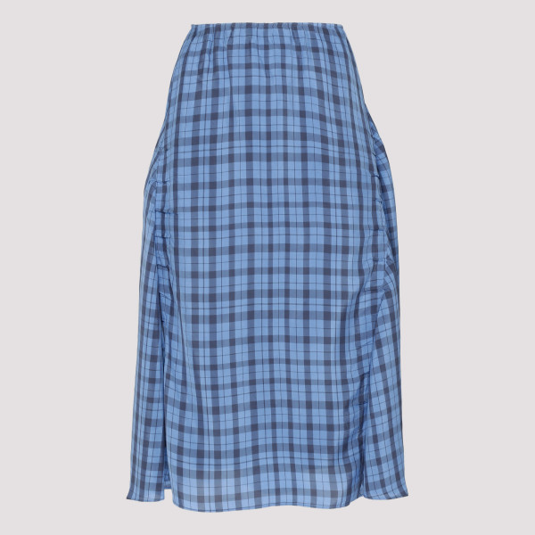 Blue plaid flared skirt