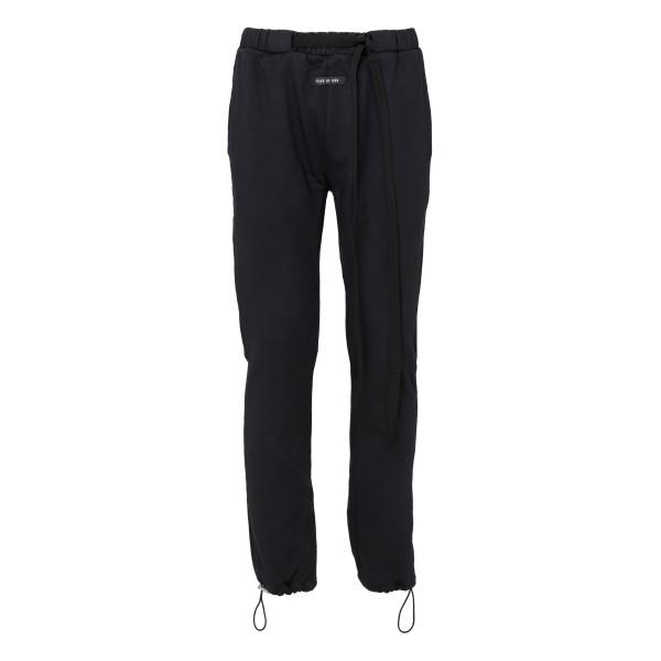 Black cotton jersey track pants