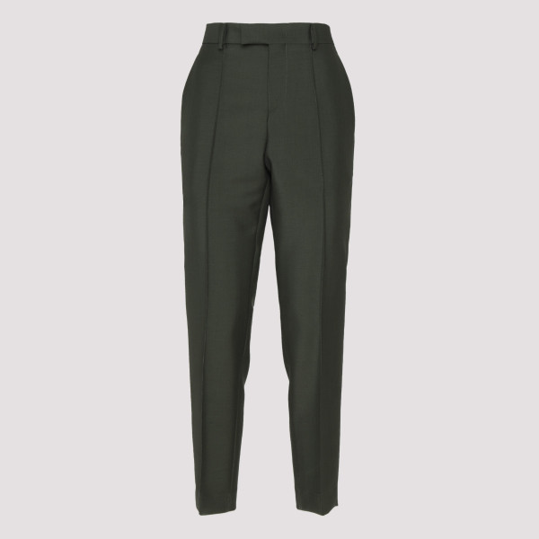 Green cotton poplin pants