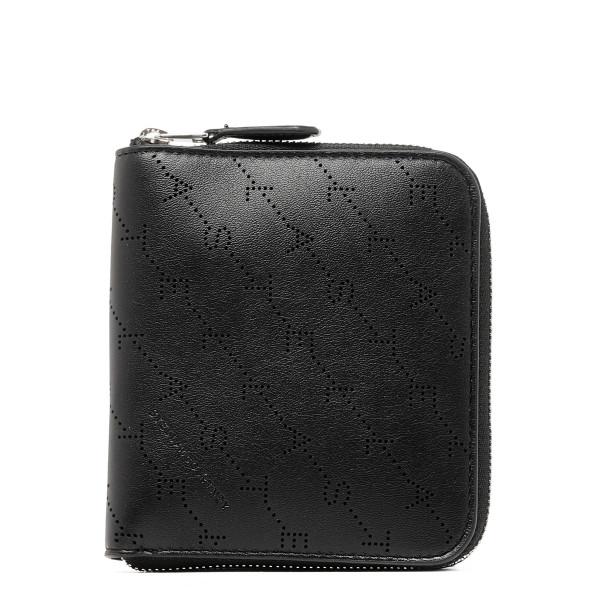 Black monogram zip around wallet