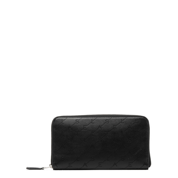 Black monogram zip around wallet