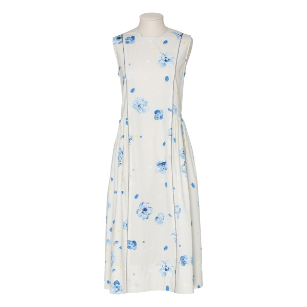 White dress with blue flowers print