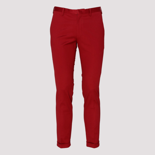 Red cotton pleated pants