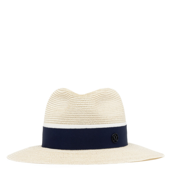 Henrietta natural straw fedora with navy ribbon