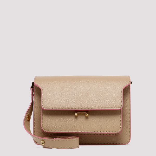 Beige saffiano leather...