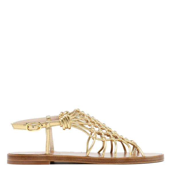 Seaside gold nappa mule sandals