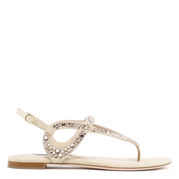 Allura suede crystal ivory sandals