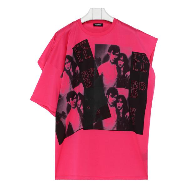 Fuchsia cotton asymmetric T-shirt