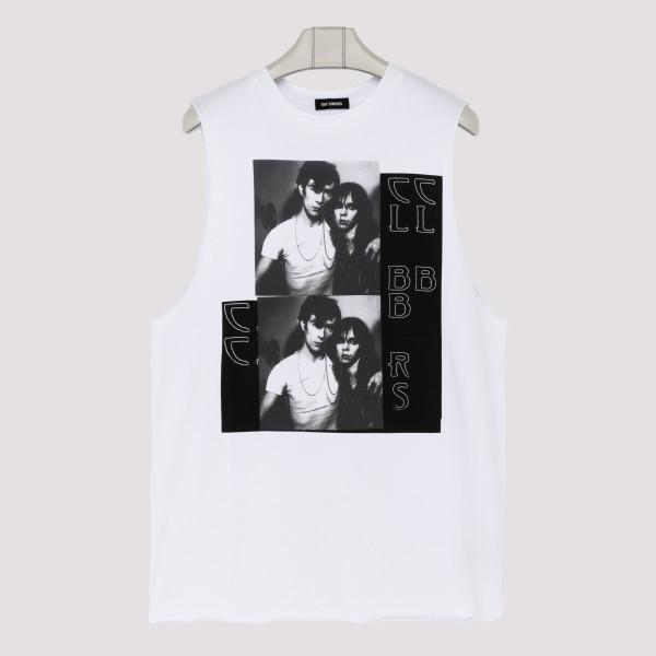White cotton Couple tank top