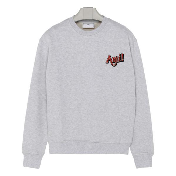 Gray cotton sweatshirt with logo