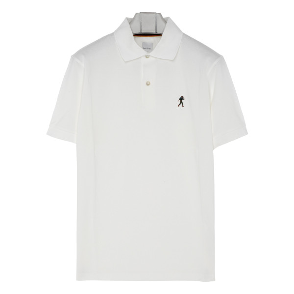 White embroidered logo polo T-shirt