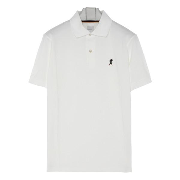 White embroidered logo polo T-shirt