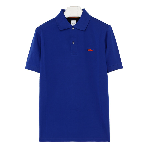 Blue embroidered logo polo T-shirt