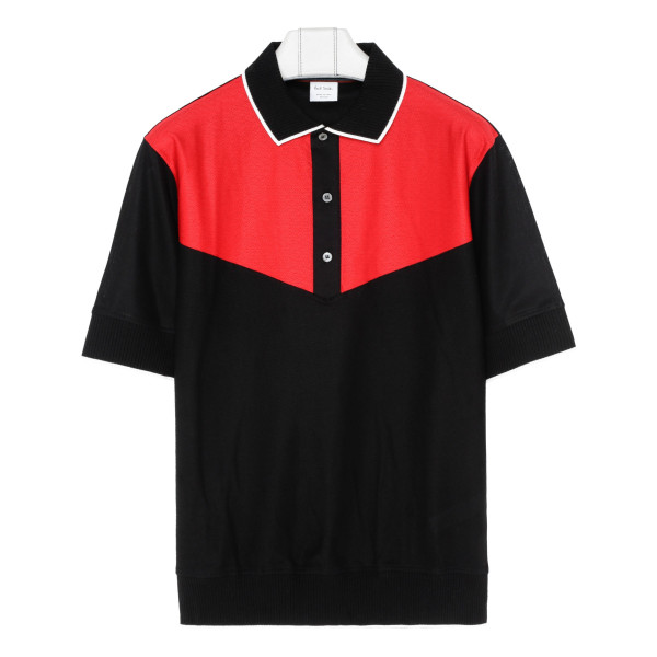 Colour-block polo T-shirt