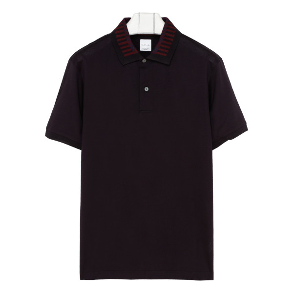 Burgundy striped collar polo T-shirt