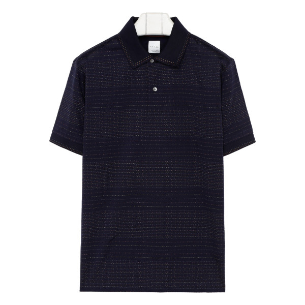 Navy blue dotted stripe Polo T-shirt