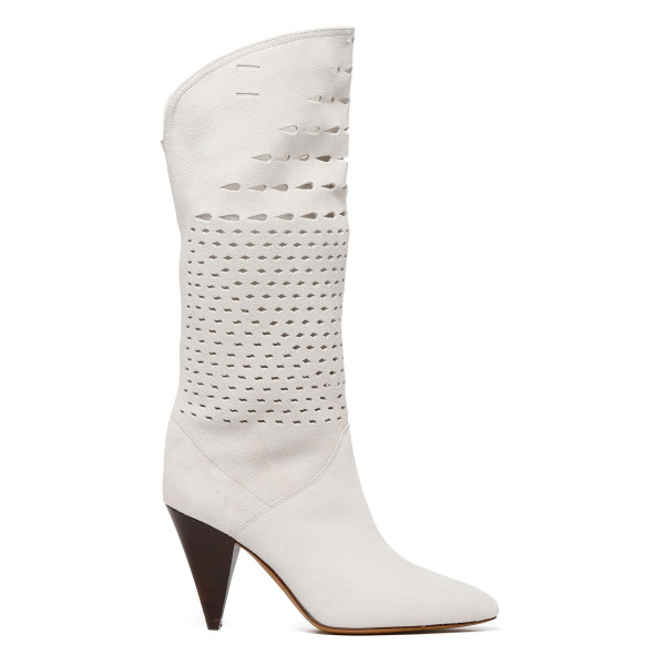 White leather Lurrey high heeled boots