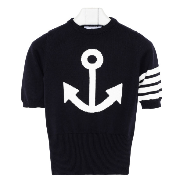Navy 4-Bar Anchor Icon Intarsia T-shirt