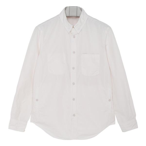 White cotton patch pocket shirt