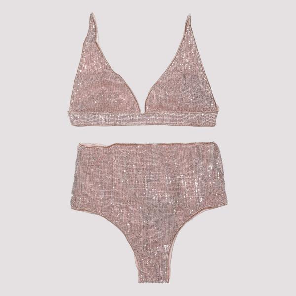 Pink sequinned bikini