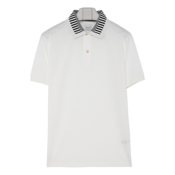 Black and white striped collar polo T-shirt