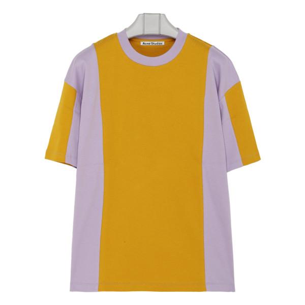 Purple and ocher cotton T-shirt