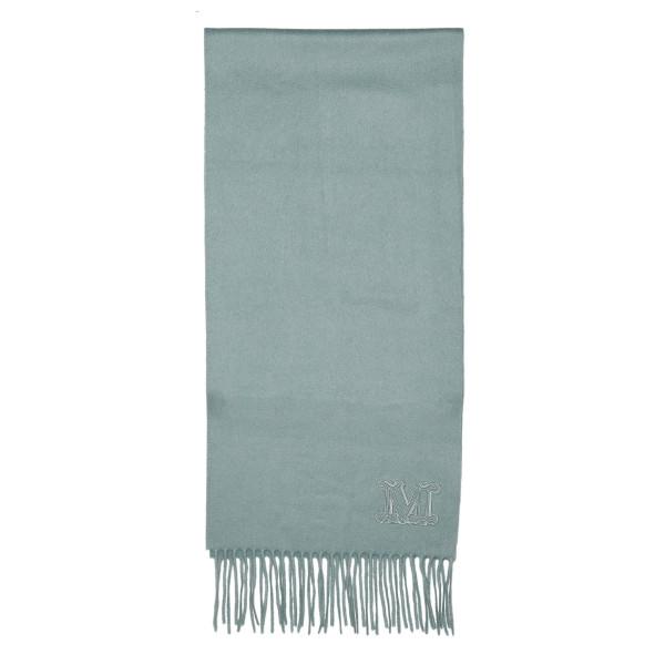 Green Dalia monogram fringed scarf