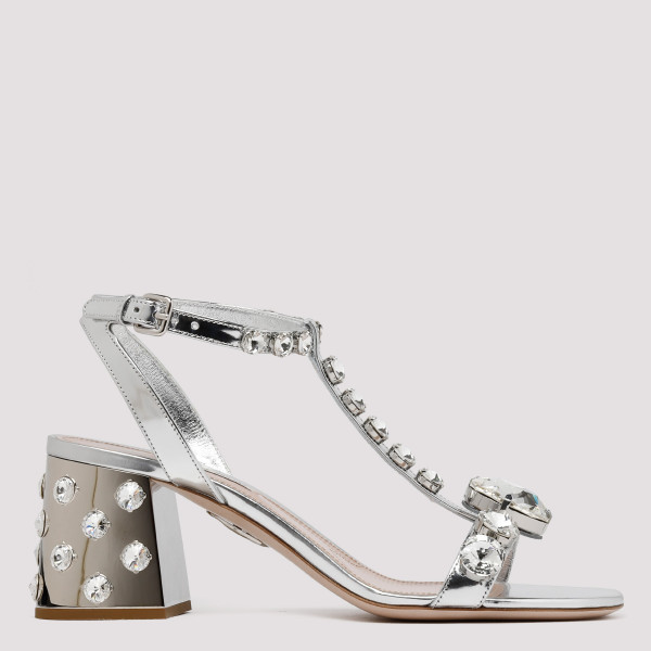 Silver leather embellished...