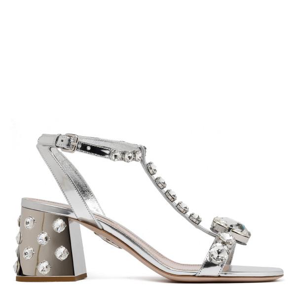 Silver leather embellished sandals
