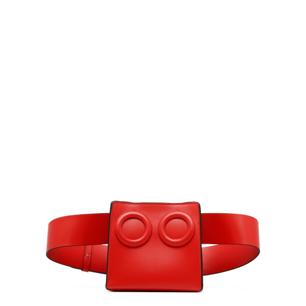 Deon red leather belt bag