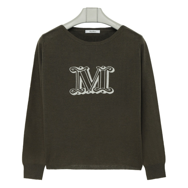 Khaki silk and linen sweater with logo